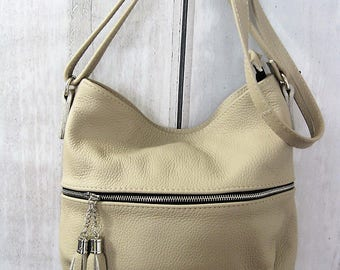 Beige Bag, Small Crossbody Leather Bag, leather purse, crossbody purse, leather shoulder bag, everyday bag, leather bag, leather tassels