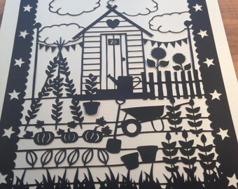 Allotment Garden Shed Themed - Paper Cutting Template. Personal And Commercial Use PDF