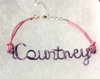 wire name bracelet,Courtney Bracelet,bracelet,custom jewelry ,bridesmaid gift,flower girl gift,custom gift