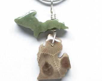 Michigan State Pendant - Michigan Shaped Petoskey Stone/Frankfort Green Pendant - Upper Peninsula and Lower Peninsula