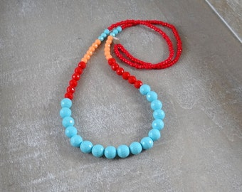 Turquoise red and coral colorblock necklace