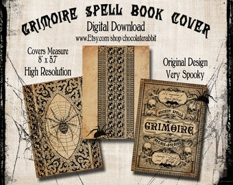 Spell Book Cover Halloween Witch Digital Download Printable Vintage Image Clip Art Scrapbook Collage Sheet