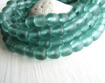aquamarine Recycled glass bead, sea green blue barrel tube, translucent frosted matte aqua, Indonesia 10- 12mm x 12- 14 mm dia (10 pcs)6BK2