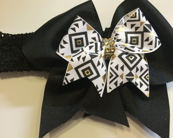 Large Black Aztec Hair Bow Headband