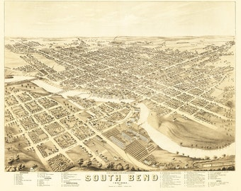 Vintage Map - South Bend, Indiana 1874