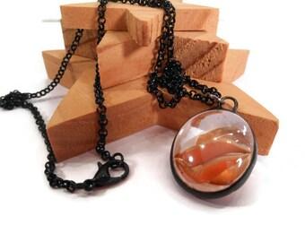 Glass Pendant Orange Pendant Handmade Necklace Soldered Jewelry Orange Marble Pendant Glass Metal Jewelry Pendant Necklace Orange Jewelry