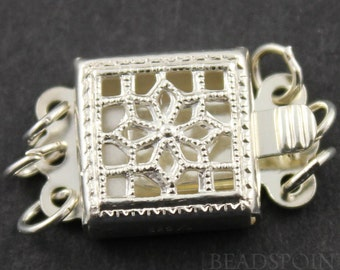 Sterling Silver Filigree Box Clasp with 3 Ring,1 Piece, Sold INDIVIDUALLY, Just buy as many you need,(SS/956/3)