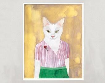 Art Print - White Cat - Signed by Artist - 3 Sizes - S/M/L