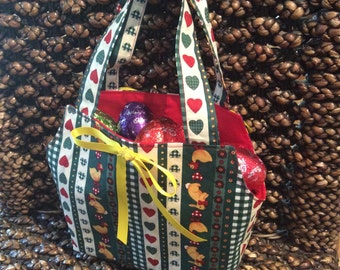 Cute 'Folk' Easter Baskets/Gift Bags, Green & Red Quality Hand Made 26cm x 22cm