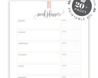 Items similar to Meal Planner Printable Weekly Meal Plan
