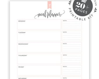 Meal Planning Printable KIT, Editable Meal Planner Printable, Grocery List, Shopping  List,