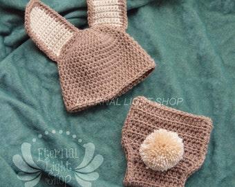 Easter Rabbit Diaper Cover & Hat Set Newborn-12 Months