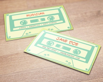 100 Custom Cassette Tape Business Cards - Listen Up - Personalized Calling Cards, Musician, Music