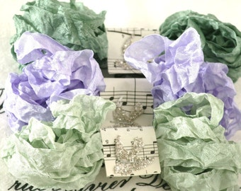 Seam Binding , 18 yards , Bias Tape , SEA URCHINS ,Crinkle Ribbon , Green Ribbon , Purple Ribbon , Doll Supply, Vintage style, Card making
