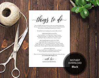 Editable PDF Things to do Card Welcome Bag Note Calligraphic Welcome Itinerary Template Instant download card DIY Printable card #DP110_55