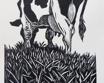 Woodblock print: Grazing