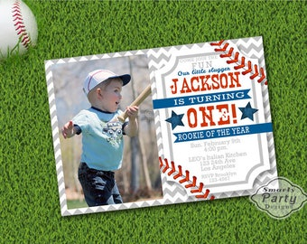 Baseball Rookie of the Year Birthday Invitations Invite Printable Photo Personalized Customized 5x7 or 4x6