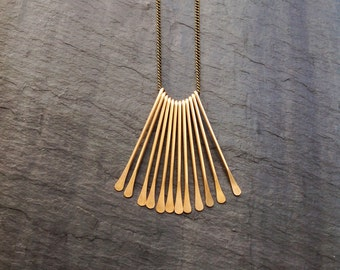 14K Goldfill Deco Fan Necklace, Gold, Tassel, Necklace, Sterling silver, Rose Gold, Fringe Necklace, Gold Fill Fan Necklace, Minimalist