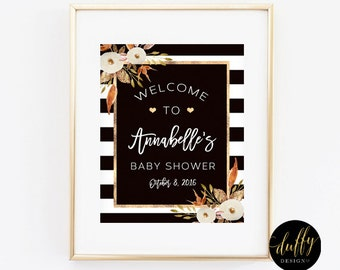 Baby Shower Welcome Sign, Fall Baby Shower Welcome Sign, Gender Neutral Baby Shower Sign, 8x10 Printable Welcome Sign, Brown and White