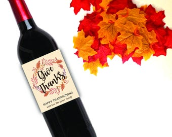 Thanksgiving / party / wine labels / fall / Thankful / thanksgiving wine label
