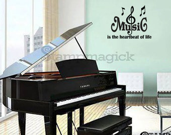 Music Wall Decal - Music Quote Vinyl Wall Art Graphics - music notes symbol home decor - K126