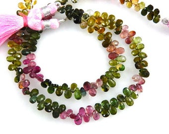 2 Strands-Tourmaline-Beads-AAA Multi-Tourmaline Faceted Briolette Pear-Drops Size 4x6MM-Wholesale Tourmaline Beads