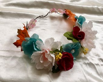 hairband mix color flowers hairpiece, wedding bridal, bridesmaid, flower girl bride wreath crown