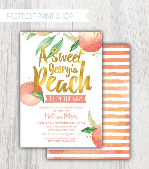 Printable Georgia Peach Baby Shower Invitation   Peach And Gold Baby Girl  Shower   Southern Peach   Sweet Peach Is On The Way   Customizable