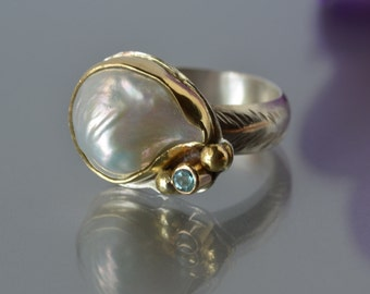 Large Pearl Ring, Baroque Pearl Ring in Gold and Silver, White Pearl Statement Ring, Size 7 Ring, June Birthstone, Granulation, Bridal
