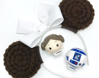 Princess Leia Minnie Mouse Ears | Mouse Ears Headband | Star Wars Mouse Ears | Star Wars Headband | Leia | R2-D2 | Princess Mouse Ears