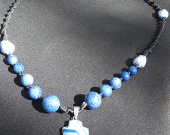 Blue owls and arrowhead necklace