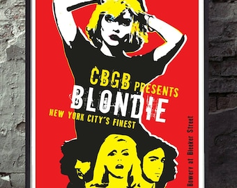 Blondie inspired music poster. Wall decor art quality print. Unframed