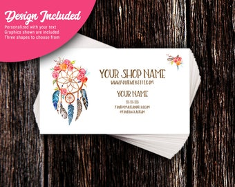 Business Cards - Custom Business Cards - Personalized Business Cards - Mommy Calling Cards - Floral Dreamcatcher