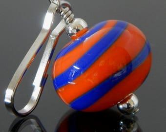 Zipper Pull, orange & blue, swirl, zipper pulls for purses, zipper pull charm, beaded zipper pull, decorative pull, artisan made, lampwork