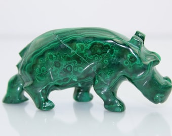 Malachite Hippopotamus / Hippo Carving (146 grams, Congo) Natural Crystal Specimen #MAL55