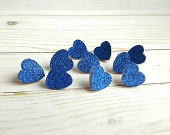 Thumb Tacks. Push Pins. Glitter Hearts. Royal Blue. Memo Board Pins. Office Accessories. Heart Tacks. Dorm Room Decor. Office Supplies.