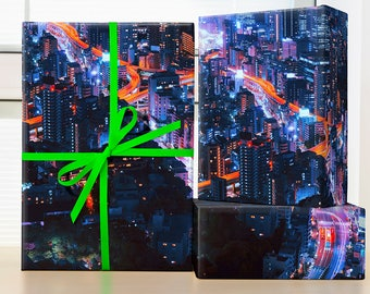 City Lights Tokyo Wrapping Paper; Tokyo Wrapping Paper; Tokyo City Wrapping Paper; Tokyo gift; Japanese wrapping paper sheet; Tokyo print