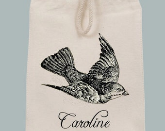 Vintage Flying Swallow Lunch Tote Bag with Velcro closure and Rope Handle