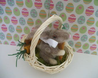 Bunny in a Basket with Carrots Needle felted Rabbitt