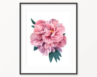 Watercolor peony, watercolor print, watercolor painting, Mother's day gift idea, printable peony, printable botanical print, peony art
