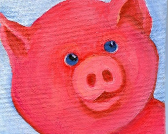 Pig Mini canvas art, original acrylic painting canvas art 4 x 4 canvas panel, original pig painting, small pig art, mini canvas decor