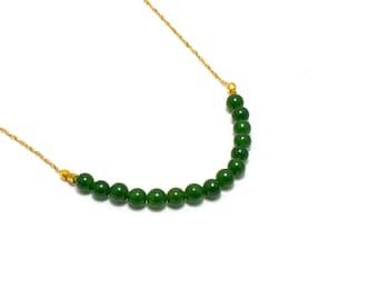 Jade Bar Necklace/ Green Jade Necklace/ Gold Jade Necklace/ Green Bar Necklace/ Jade Chain Necklace