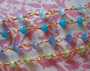 Rosary Chain by foot / CHALCEDONY Wire Wrap Chain / Gold or Silver Plated / wholesale beaded chain rc.13 p sb a g solo