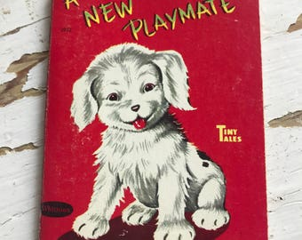Vintage Whitman Tiny Tales Book A New Playmate White Puppy