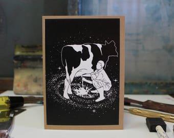Milky Way Card, Birthday, Love, Anniversary, Humor Screen Printed by Hand.