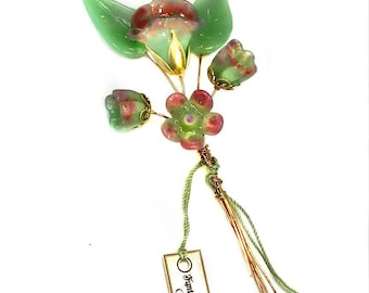 Celedon and Orchid Lampwork Headpin Bouquet. Set of six headpins.
