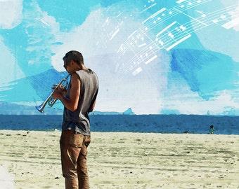 Watercolor Playing Jazz Trumpet on Santa Monica California Beach Ocean Waves Sunshine Clouds Fine Art Photograph Print Photography