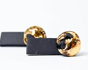 OOAK Gold Ohrringe, Gold Bar Ohrringe Gold, Perlenohrringe, Bar, geometrische Ohrringe, Silber Ohrstecker, doppelt doppelseitig Ohrringe