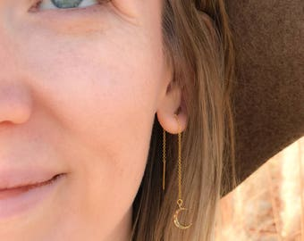 Gold Moon Threaders | Tiny Moon Earrings | Gold Threader Simple | Long Chain Earring | Threader Earrings  | Minimal Earrings | Gift for Her