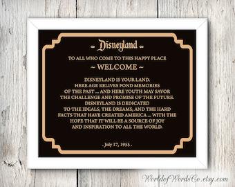 Disneyland signs 6, Dedication Disneyland, Frontierland, Tomorrowland, Fantasyland, Adventureland, Main Street, 8x10, 5x7, INSTANT DOWNLOAD